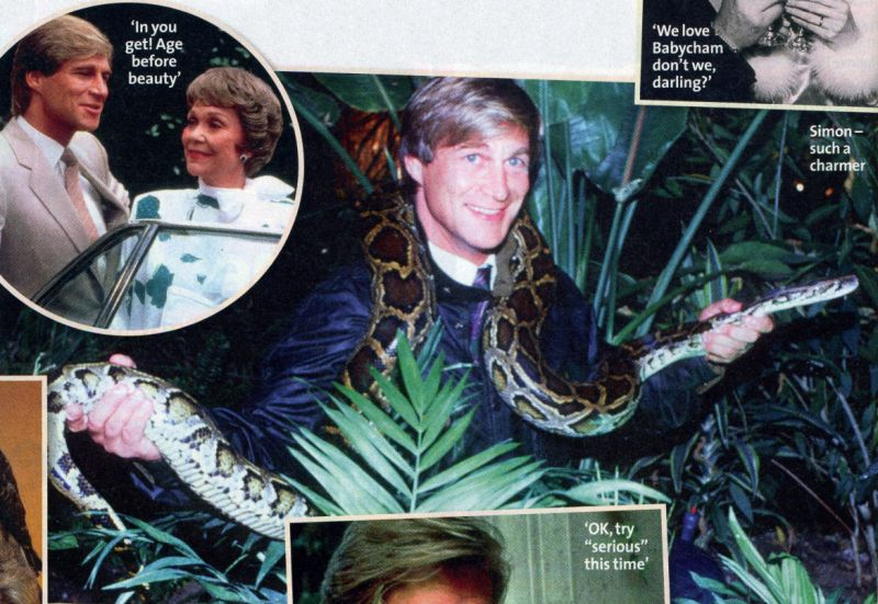 Simon MacCorkindale with a snake and as Greg Reardon in Falcon Crest